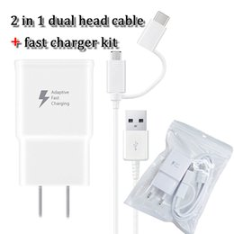 TOP quality 2 in 1 cellphone charger and cable kits Type c cable and android cable 9v1.67A wall charger AC adaptor