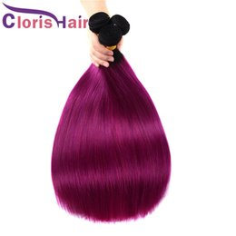 Ombre Hair Extensions Two Tone Colored Brazilian Purple Weave Silky Straight 12-24 Inch Royal Queen Ombre Human Hair Weft Straight 4pcs lot