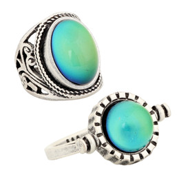 USA Size 7 8 9 Women Lovers Mood Stone Ring Bohemia Retro Color Change Alloy Ring RS019-035 2PCS Set