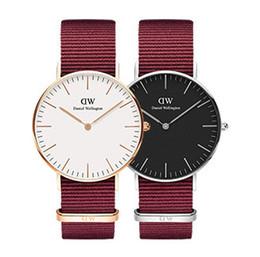 2018 new luxury brand Daniel watches red blue watch nylon belt 36MM ladies quartz watch