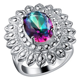 Luckyshine Fashion 925 silver Unique Pretty and colorful Natural Mystic Topaz best for Valentine's Day Ring Women Jewelr Free shipping