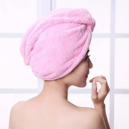 Magic quick dry hair towel absorbing bathing shower cap hair drying ponytail holder cap lady coral fleece hair hooded towel high quality