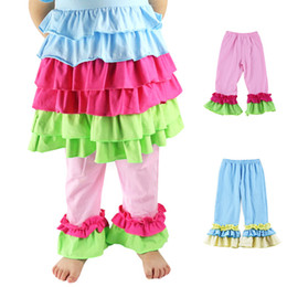 Boutique fashion kids Single Ruffle Capris Pants knit cotton ruffle capris pants wholesale