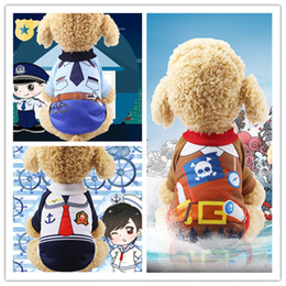 Sailor turned into uniform Teddy police loaded pirate dog clothes pet clothes cat spring and autumn and winter legs warm fleece new