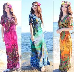 2017 4XL Plus Size Long Dress Women Polyester Others 3 4 Sleeves Maxi Casual Dresses Day Bohemian V-Neck