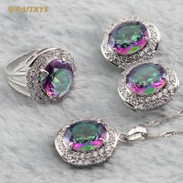 Rainbow Wedding Jewelry Sets - Wholesale Big Oval Multicolor White Zircon Silver Plated Pendant Clip Earrings Ring For Women Rings Size 6-10