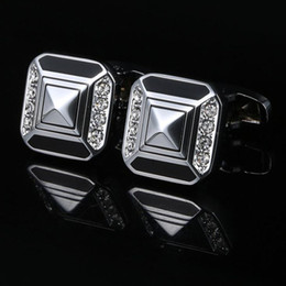 Diamond-Diamond Black French Shirt Men's Cufflinks Business Gifts Wedding Cuff nails Free shipping