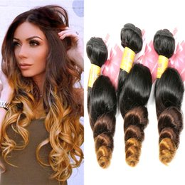 8A Ombre Loose Wave Brazilian Virgin Hair 3 4 Pieces Remy Wavy Ombre Human Hair Bundles Weave Extensions Three Tone 1b 4 27