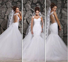 Elegant Wedding Dresses Sexy Sheer Mermaid Backless Lace Sheer Tulle Covered Button Spaghetti Straps Bridal Gowns