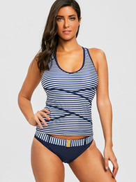 New Summer O Neck Vest Women Sexy Bikini Two Piece Stripe Printing Bkini