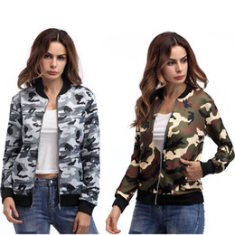 Hot Sale New Women Camouflage Gray Army Green Zipper Tropical Floral Print Pockted Bomber Jacket Coat Outwear Plus Size 2XL
