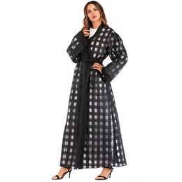 Black Abaya Dubai Long Chiffon Mesh Plaid Muslim Hijab Dress Turkish Islamic  Clothing Qatar UAE Abayas For Women Kimono Cardigan 2f4092d7a985