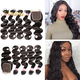 Nadula Peruvian Hair 4 Bundles with Closure Body Wave Hair Weave Bundles With Lace Closure Virgin Hair Extensions with Closure Wholesale