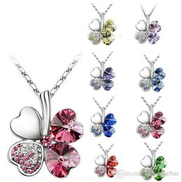 Hot Selling Fashion Austria Crystal Sweet style half rhinestone crystal clover Pendant Necklace