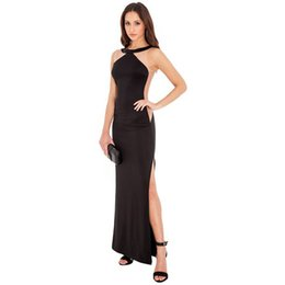 2018 New Sexy Sheer Backless Black & White & Red Party Dresses Sleeveless Halter Champagne Long Plus Size Cheap Evening Gowns