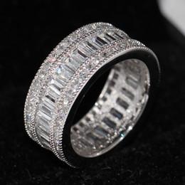 Free shipping wholesale New nice Full Princess cut white Topaz Diamonique Simulated Diamond 10KT White Gold GF Wedding Band Ring Sz 5-11