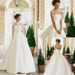 Gorgeous 2019 White Satin A Line Wedding Dresses With Bolero Western 2018 Lace Appliques Bridal Gowns With Pocket Court Train Custom Made
