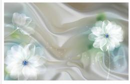 Custom Photo Wallpaper 3D Stereo Original 3d fantasy flower ink green transparent white flower background wall Home Decor Living Room Wall
