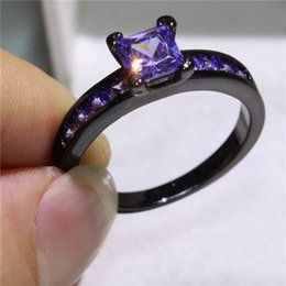 High-quality Women Black Gold Filled Finger Ring For Female Engagement Wedding Purple Cubic Zirconia Crystal Rings Jewelry Gift Size 5-10