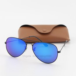 5pcs High quality Blue Colorful lens pilot Fashion Sunglasses For Men and Women Brand designer Vintage Sport Sun glasses With case and box