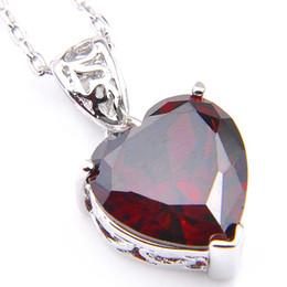 Wholesale LuckyShine 5 Pcs Lot Women Jewelry Pendants Love Heart Red Cubic Zirconia Pendants 925 Silver Pendant Necklace Free Shipping