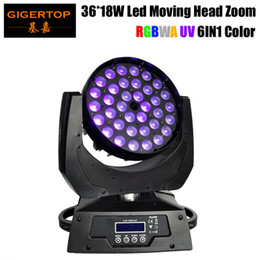 Gigertop TP-L606D Zoom Led Moving Head Light 36x18W 6in1 RGBWA+UV DJ DMX Wash Light Good Quality Led Display 15-60 Degree Zoom