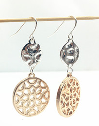 Two Color Tone Earrings With Waved Metal and Filigree Metal Mixed together On Simple Fishhook for Women
