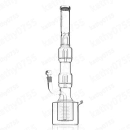 "HOT SELL BONG Hi Si Glass 21"" Triple Geyser Perc with Drain Cap ice pinch with 18.8 female jonit DHL free shipping"