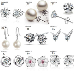 party fashion classic silver plated diamond stud earrings exquisite pearl earrings dazzling high quality exquisite jewelry