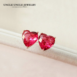 Sweet Rose Gold Color Light Red Zirconia Setting Heart-shape Style Simple Lady Stud Earring Wholesale Christmas Gifts