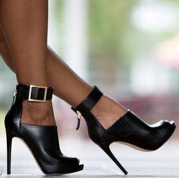 2018 NEW women pumps Burst metal buckle high-heel fish mouth cool boots Spring Summer High heels sandals shoes woman