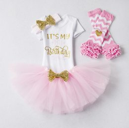 Ins Baby Girls Birthday Outfits It's My 1st Birthday 4 piece set Letter Rompers + TUTU Skirts + headband + leg warmers Infant Toddler Girl