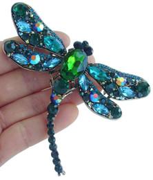 "3.74""Pretty Dragonfly Brooch Pin w Turquoise&Green Rhinestone Crystals EE05684C7"