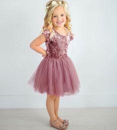 Ins Kids Girls Suede Dress Summer Short Sleeve Prom Party Patchwork Gauze Skirt Princess New 2018 B11