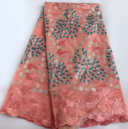 5 yards soft cotton African lace Swiss voile lace fabric big rose embroidery very neat high quality 7216