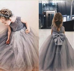 Puffy Tulle 2018 Grey Lace Ball Gown Flower Girl Dresses Appliques Girls Pageant Gowns Vintage Communion Dress Big Bow Back For Birthday
