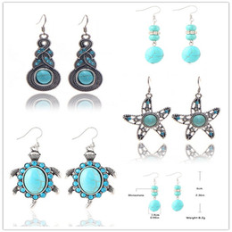 Mix Designs New Bohemian Style Turquoise Charms Drop Earrings For Women Fashion Dangle Earring Party Gifts HZ