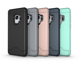 For Samsung Galaxy A3 A5 2017 s9 s9 plus 2in1 Hybrid Armor Brushed Holder Credit Card Pocket Cover Case Kickstand 50pcs