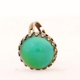 New Design Color Change Mood Copper Ring Adjustable Gypsy Boho Round Emotion Feeling Changeable Ring MJ-RGM02