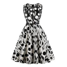 Women Black Print Pinup Vintage Dress Plus Size 4XL Pocket Summer A Line Dress Belted Sleeveless Floral Dress DK3077MX