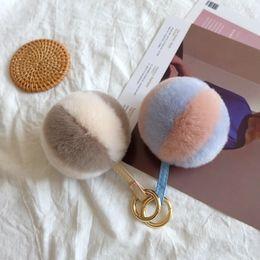 High Quality Cream Rabbit Heavy Hair Ornament Handbags Accessories Plush Ball Pendant Key Chains for Girls