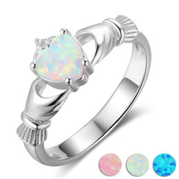 925 sterling silver jewelry elegant opal heart-shaped rings silver ring Europe and America engagement ring settings Valentine's Day gift