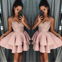 Dusty Rose Short Homecoming Dresses 2018 Fall Spaghetti Straps A Line Layers Cocktail Dress Lace Sequins Mini Prom Gowns BA9891