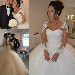 Ball Gown Wedding Dresses With Sheer Long Sleeves 2019 African Lace Bridal Dress Beaded Pearls A Line Wedding Gowns Vestido De Noiva