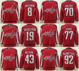 Youth Kids Washington Capitals 8 Alex Ovechkin 19 Nicklas Backstrom 43 Tom Wilson 70 Braden Holtby 77 T.J. Oshie 92 Evgeny Kuznetsov Red