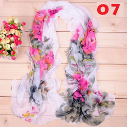 New women fashion scarf the national flower peony printing long soft silk scarves georgette scarves 50*190CM