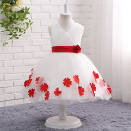 2019 white ball gown flower girl dresses for wedding with reb bow 3D appliques jewel neck tea length V neck Girl's Pageant Dresses