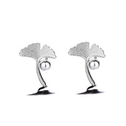 Small Fresh Temperament Artificial Pearl Ginkgo Earrings Literary Fashion Sen Department Leaves Love And Producers With The Earrings