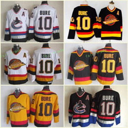 Men Vancouver Canucks Ice Hockey Jerseys Cheap 10 Pavel Bure Vintage CCM Authentic Stitched Jerseys Yellow White Black