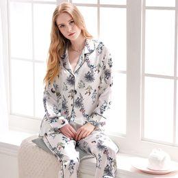 Xifenni Pajamas Faux Silk Sleepwear Women Satin SILK Fashion Printed Pyjama Sets Female Casual Simple Home Clothing 1732